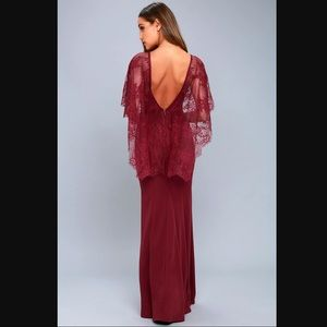 Lulus Amelie Burgundy Lace Gown